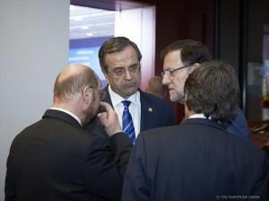 Presidente con Samaras y Schultz